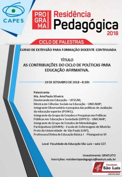 CICLO DE PALESTRAS - RESIDÊNCIA PEDAGÓGICA - 29-09-2018