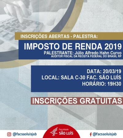 """Inscrições para a Palestra """"Imposto de Renda 2019"""""""