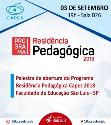 CICLO DE PALESTRAS - RESIDÊNCIA PEDAGÓGICA - 03-09-2018