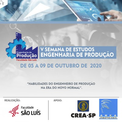 V SEMANA DE ESTUDOS DO CURSO DE ENGENHARIA DE PRODUÇÃO
