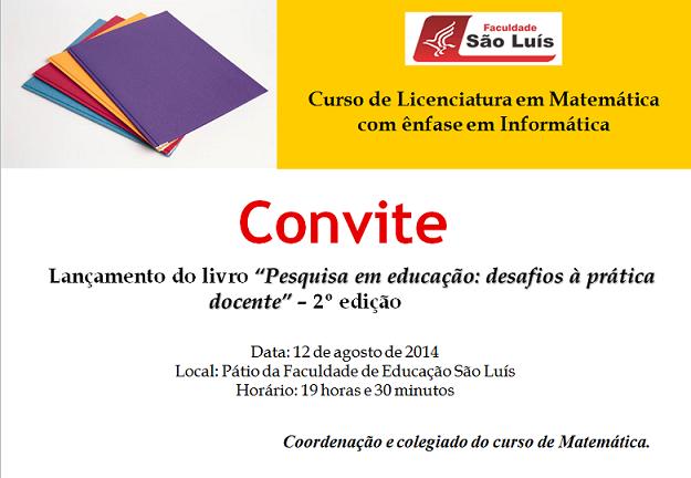 Convite Lancamento do livro do curso de Matematica